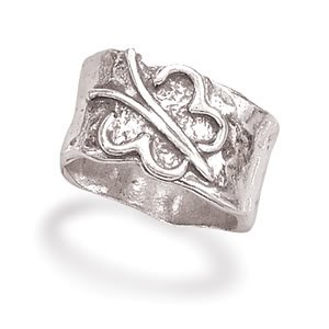 Sterling Silver Textured Ring with Butterfly / Size 8