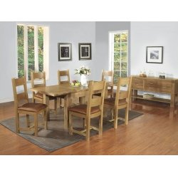 Plaza Rustic Oak Furniture Large Extending Dining Table