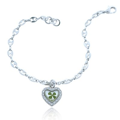 Chuvora Real Irish Four Leaf Clover, Symbol of Good Luck, Heart Charm Bracelet for Women