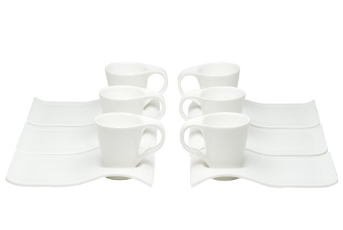 Red Vanilla Fare Espresso Cups And Saucers, 4-Ounce, Set Of 6 front-620576