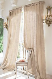 Raw Silk Woven Drapery Panel - Brown