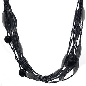 Striking Black Grey Multi Strand Bead Choker Necklace