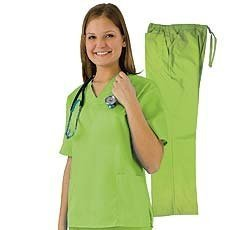 Natural Uniforms - Women'S Scrub Set (Assorted Colors, Xs-3X) Medical Scrub Top And Pant, Lime 31003-Small