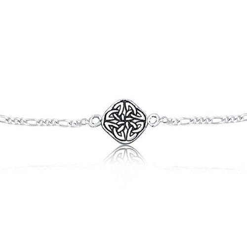Bling Jewelry 925 Sterling Silver Celtic Knot Triquetra Anklet Bracelet