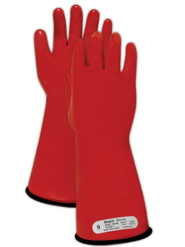 "Magid M1 A.R.C. Natural Latex Rubber Class 1 Insulating Glove With Straight Cuff, Work, 14"" Length, Size 8, Red/Black"