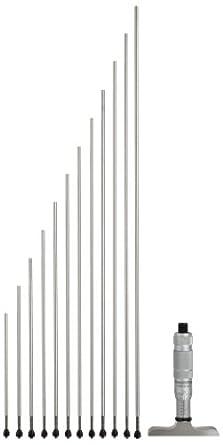 "Brown & Sharpe 599-603-128-3 Vernier Depth Gauge, Micrometer Type, 0-12"" Range, 0.001"" Resolution, +/-0.003mm Accuracy, 2.5"" Base, 12 Rods"