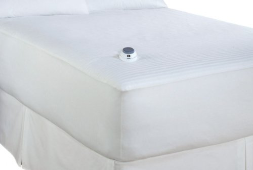 Electric Heated Warming Mattress Pad Dobby Stripe In White Size: Queen Patented Safe & Warm Non-Hazardous Low Voltage Technology Is Safer Than Others On The Market; Saves Energy; Sleep Better In A Cooler Room No More Uncomfortable Bulky Wires. The Ultra-T