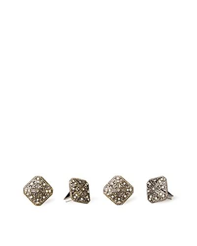 Saro Lifestyle Set of 4 Deco-Style Square Napkin Rings, Gold