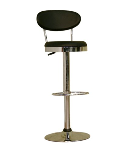 Baxton Studio Veronica Vinyl Swivel Bar Stool, Black