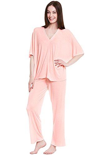 Del Rossa Women's Modal Knit Pajamas, Long Loose V-Neck Pj Set, Medium Pink (A0412PNKMD)