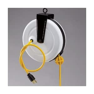 POWEREEL Economy Cord Reels - Color: white case, yellow cord.