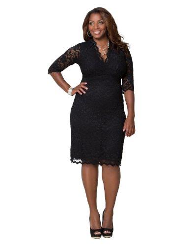 Scalloped Boudoir Lace Dress (3X, Black Lace/Black Lining)