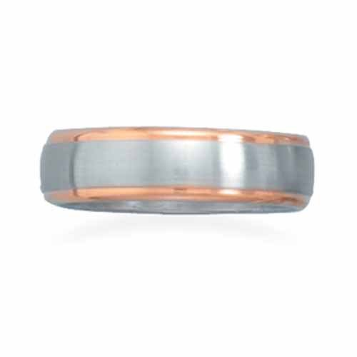 Stainless steel ring with 14 karat rose gold plated edges. This ring is available in sizes 8 - 13.