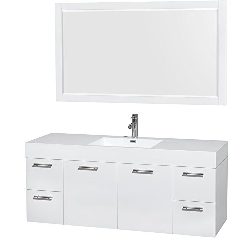 Amare 60 Inch Single Bathroom Vanity In Glossy White, Acrylic Resin Countertop, Integrated Sink, And 58 Inch Mirror