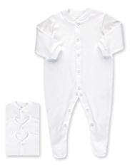 3 Pack Pure Cotton Integral Feet Sleepsuits