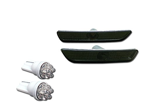Smoke Clear Bumper Side Marker Reflector Lights K2+6 Count Led Bulbs Mustang