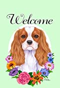 Cavalier King Charles Spaniel Dog - Tomoyo Pitcher Welcome Flowers Garden Dog Breed Flag 12'' x 17''