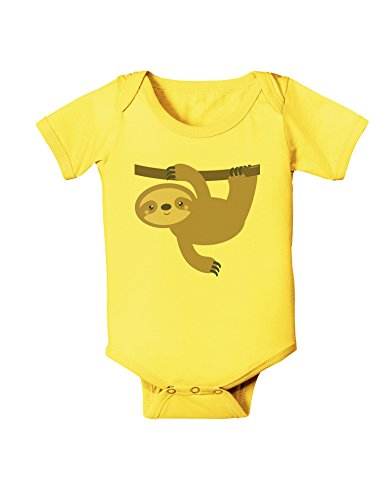 Tooloud Cute Hanging Sloth Baby Romper Bodysuit - Yellow - 6 Months