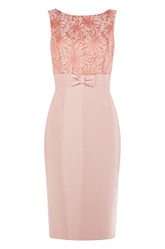 Roman Originals - Women's Sleeveless Jacquard Bow Detail Dress - Evening Cocktail Party Occasion Formal - Coral Pink - Sizes 10 - 20