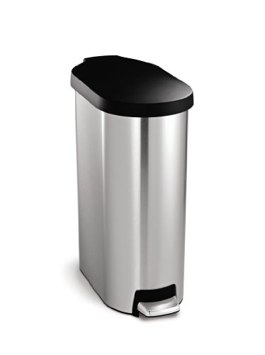 simplehuman 45 litre slim step can - plastic lid - stainless steel (Rectangle Garbage Can compare prices)