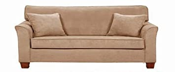 Simmons Micro Fiber Taupe Fabric Stationary Loveseat