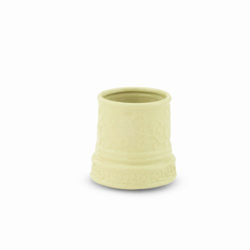 Candle Warmers Etc. Ceramic Votive Candle Warmer Crock, Cream Embossed