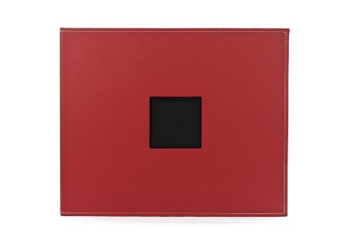 American Crafts 12-Inch by 12-Inch D-Ring Faux Leather Scrapbooking Album, Pomegranate