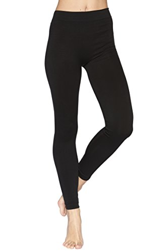 Reypo Women's Seamless Full Length Leggings (Black),One Size