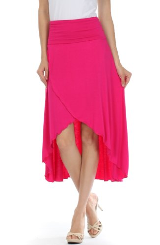 Sakkas 0326 Soft Jersey Feel Solid Color Strapless High Low Dress / Skirt - Fuscia/Small