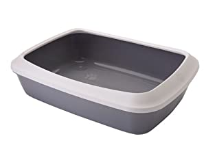 Savic Isis Cat Litter Tray with Rim, 50 cm, White/ Cold Grey
