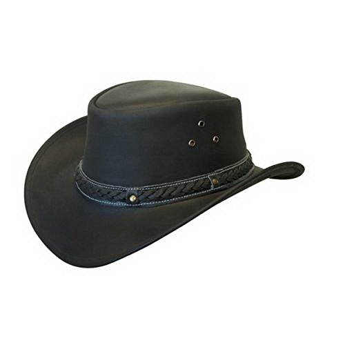 LEATHER DOWN UNDER HAT AUSSIE BUSH COWBOY STYLE Classic Western Outback Black XL (Bush Hat Leather compare prices)
