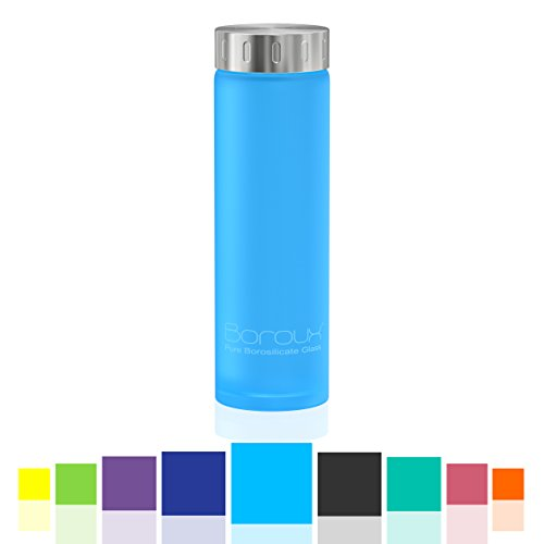 Boroux Spectrum Glass Water Bottle Protective Silikote Technology Adhered to Eco Friendly BPA Free Pure Borosilicate Glass. Perfect for Essential Oils, Juicing, Smoothies & an Active Healthy Lifestyle (Wide Mouth Glass Water Bottle compare prices)