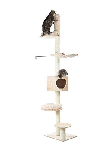 ARMARKAT-Kratzbaum-S9502Z-aus-Echtholz-deckenhoch-mit-Wandhalter-und-dicken-Sisalstmmen-beste-Standsicherheit
