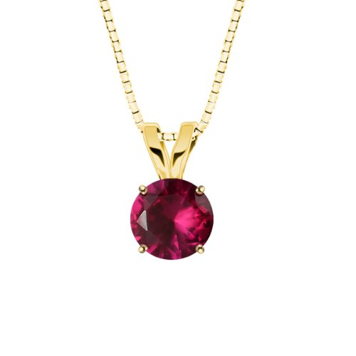 10k Yellow Gold Round Created Ruby Gemstone Pendant Necklace (8mm 1.25 ct), 18