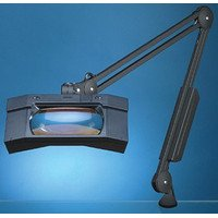 "Luxo Magnifier Wave+Plus Uv 45"" Arm Clamp-On Base-Blk,3.5D"