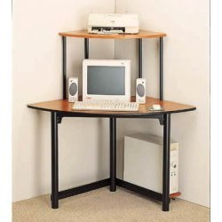 Corner Office Computer Desk (Black/Light Cherry) (50&quot; W x 28.5&quot; D x 48.75&quot; H)