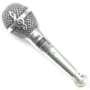 925 Sterling Silver Music Jewelry Medium Microphone Charm