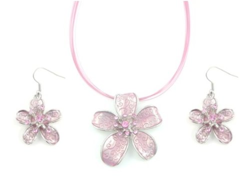Pink Enamel Flower Pendant Necklace with Rhinestone Detailing and Drop Earrings Set