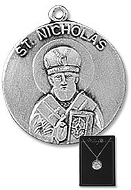 St. Nicholas Patron Saint, 3PK Lot Pewter Medals with 18
