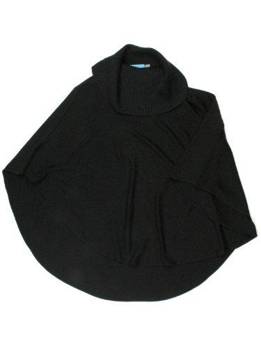 Alice + Olivia womens black ribbed neckline poncho style sweater S