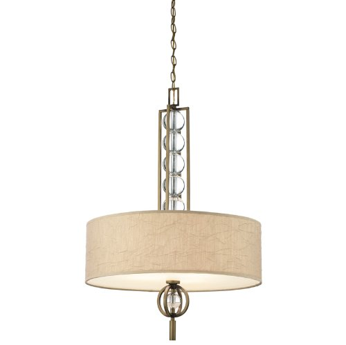 42192CMZ Celestial 3LT Pendant, Cambridge Bronze Finish and Taupe Crinkle Fabric Shade
