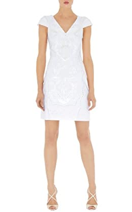 White Cutwork and Bead Dress