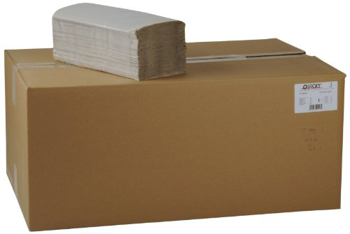 Quicky Paper Hand Towels Single-Ply with ZZ-Fold 25x 23cm, Natural, 5000Sheets, Pack of 1