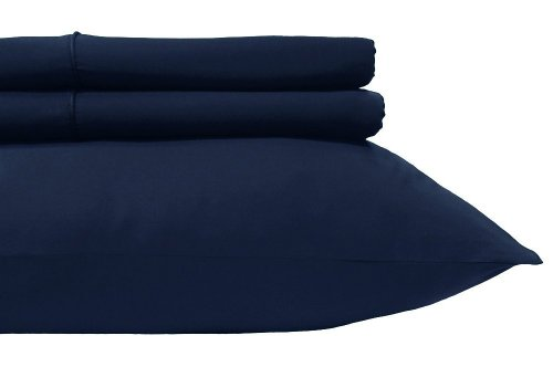 """Royal'S Solid Navy 600-Thread-Count 2Pc / Pair Standard / Queen Size 20"""" X 30"""" Pillowcases 100% Egyptian Cotton, Sateen, Pillow Cases front-1009942"""