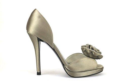 scarpe donna STUART WEITZMAN sandali beige raso AH407 (40)