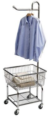 Household Essentials 7028 Commercial Chrome Laundry Cart and Hanger