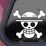 One Piece Luffy Flag White Sticker Decal Pirate Cartoon Anime White Sticker Decal