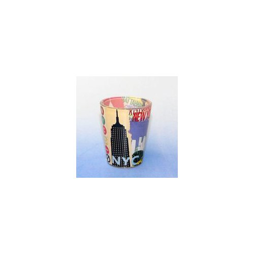 Club Pack of 12 Shot Glasses with All New York City Icons Design - 1 Ounce