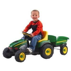 Toy / Game Peg Perego John Deere Farm Tractor & Trailer - Easy To Pedal With Enclosed Bicycle Chain Drive