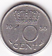 1950 Netherlands 10 Cent Coin - 1